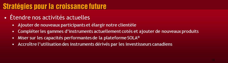 16 Stratégies pour la croissance future Étendre nos activités actuelles Ajouter de nouveaux participants et élargir notre clientèle Compléter les gammes d'instruments actuellement cotés et ajouter de nouveaux produits Miser sur les capacités performantes de la plateforme SOLA ® Accroître l'utilisation des instruments dérivés par les investisseurs canadiens