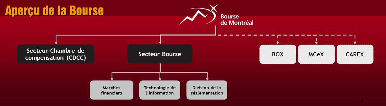 4 Aperçu de la Bourse Marchés financiers Technologie de l'information Division de la réglementation BOXMCeXCAREX Secteur Bourse Secteur Chambre de compensation (CDCC)