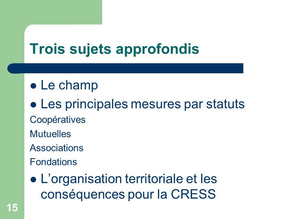 15 Trois sujets approfondis Le champ Les principales mesures par statuts Coopératives Mutuelles Associations Fondations L'organisation territoriale et