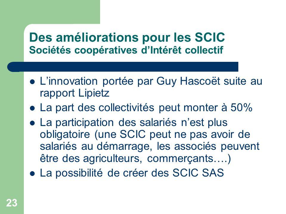 23 Des améliorations pour les SCIC Sociétés coopératives d'Intérêt collectif L'innovation portée par Guy Hascoët suite au rapport Lipietz La part des