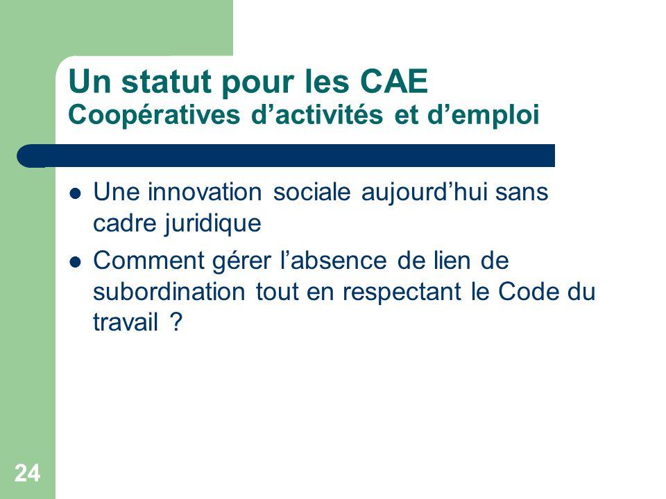 24 Un statut pour les CAE Coopératives d'activités et d'emploi Une innovation sociale aujourd'hui sans cadre juridique Comment gérer l'absence de lien