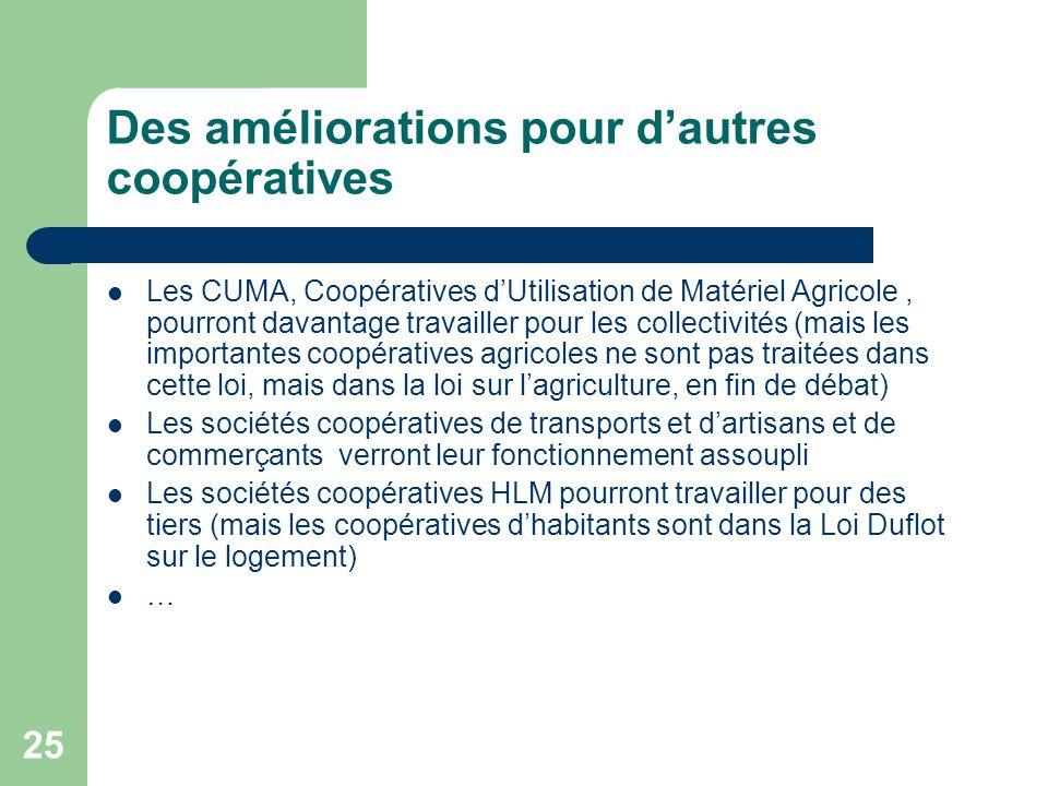 25 Des améliorations pour d'autres coopératives Les CUMA, Coopératives d'Utilisation de Matériel Agricole, pourront davantage travailler pour les coll
