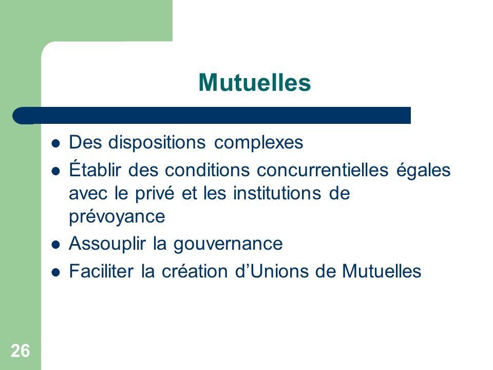 26 Mutuelles Des dispositions complexes Établir des conditions concurrentielles égales avec le privé et les institutions de prévoyance Assouplir la go
