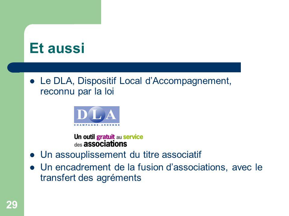 29 Et aussi Le DLA, Dispositif Local d'Accompagnement, reconnu par la loi Un assouplissement du titre associatif Un encadrement de la fusion d'associa