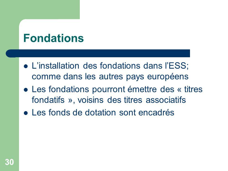30 Fondations L'installation des fondations dans l'ESS; comme dans les autres pays européens Les fondations pourront émettre des « titres fondatifs »,