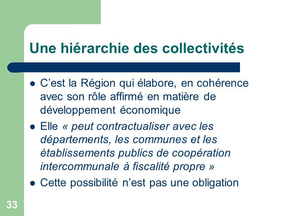 33 Une hiérarchie des collectivités C'est la Région qui élabore, en cohérence avec son rôle affirmé en matière de développement économique Elle « peut