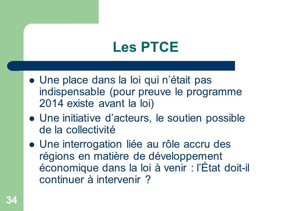 34 Les PTCE Une place dans la loi qui n'était pas indispensable (pour preuve le programme 2014 existe avant la loi) Une initiative d'acteurs, le souti