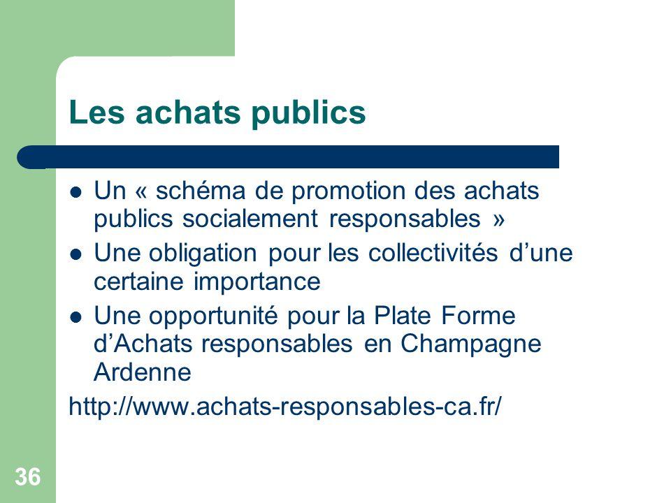 36 Les achats publics Un « schéma de promotion des achats publics socialement responsables » Une obligation pour les collectivités d'une certaine impo