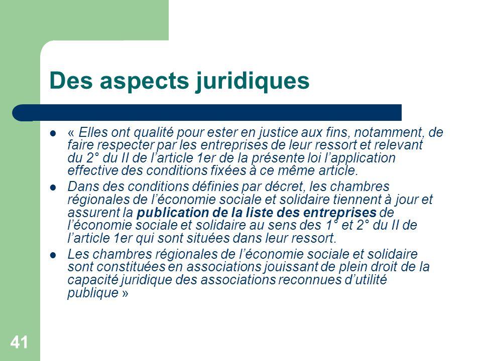 41 Des aspects juridiques « Elles ont qualité pour ester en justice aux fins, notamment, de faire respecter par les entreprises de leur ressort et rel