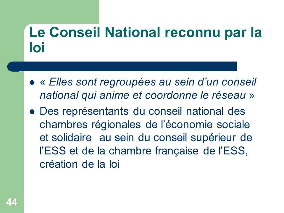 44 Le Conseil National reconnu par la loi « Elles sont regroupées au sein d'un conseil national qui anime et coordonne le réseau » Des représentants d