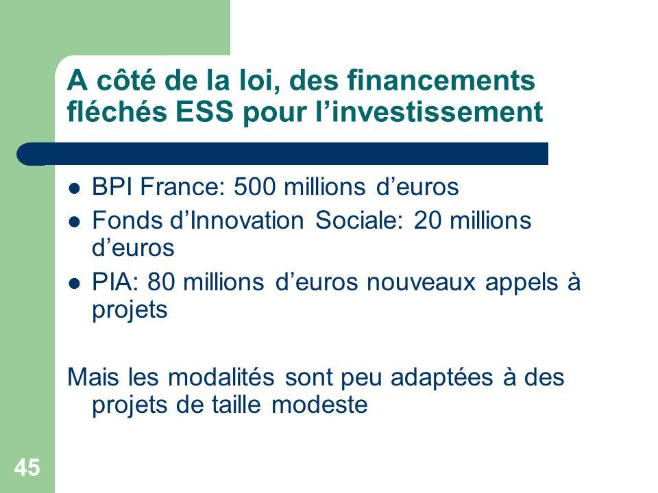 45 A côté de la loi, des financements fléchés ESS pour l'investissement BPI France: 500 millions d'euros Fonds d'Innovation Sociale: 20 millions d'eur