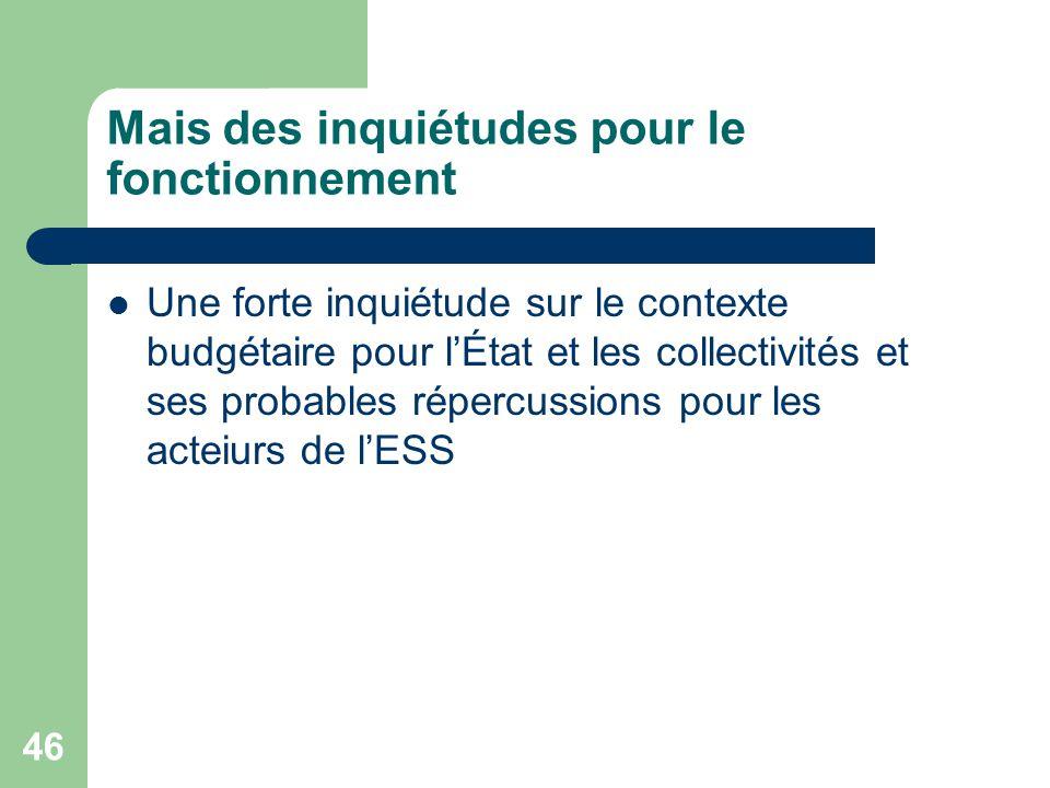 46 Mais des inquiétudes pour le fonctionnement Une forte inquiétude sur le contexte budgétaire pour l'État et les collectivités et ses probables réper