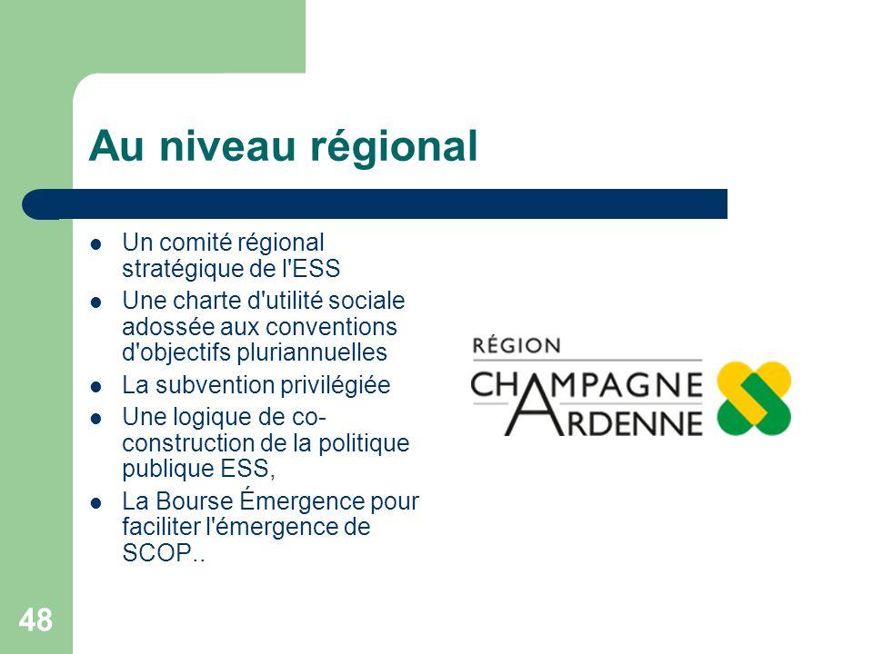 48 Au niveau régional Un comité régional stratégique de l'ESS Une charte d'utilité sociale adossée aux conventions d'objectifs pluriannuelles La subve