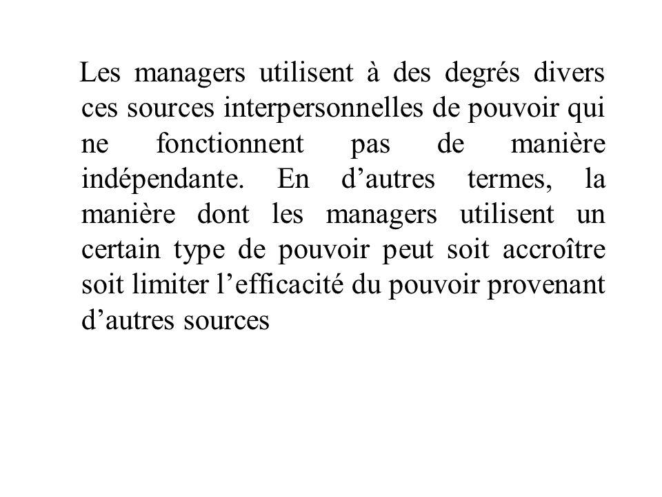 Les managers utilisent à des degrés divers ces sources interpersonnelles de pouvoir qui ne fonctionnent pas de manière indépendante. En d'autres terme