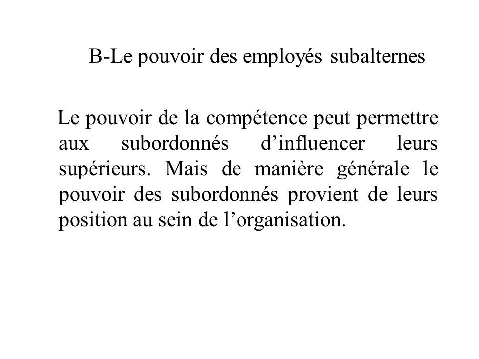 B-Le pouvoir des employés subalternes Le pouvoir de la compétence peut permettre aux subordonnés d'influencer leurs supérieurs. Mais de manière généra