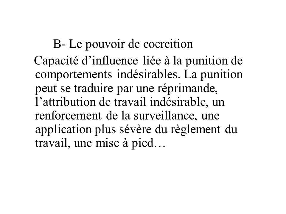 B- Le pouvoir de coercition Capacité d'influence liée à la punition de comportements indésirables. La punition peut se traduire par une réprimande, l'