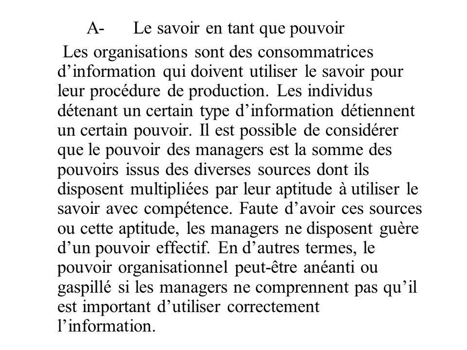 A-Le savoir en tant que pouvoir Les organisations sont des consommatrices d'information qui doivent utiliser le savoir pour leur procédure de production.