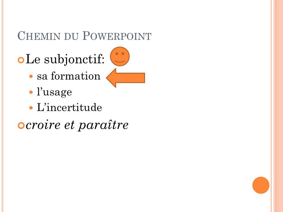 C HEMIN DU P OWERPOINT Le subjonctif: sa formation l'usage L'incertitude croire et paraître