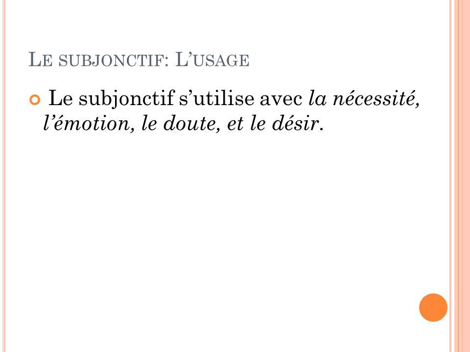 L E SUBJONCTIF : L' USAGE Le subjonctif s'utilise avec la nécessité, l'émotion, le doute, et le désir.