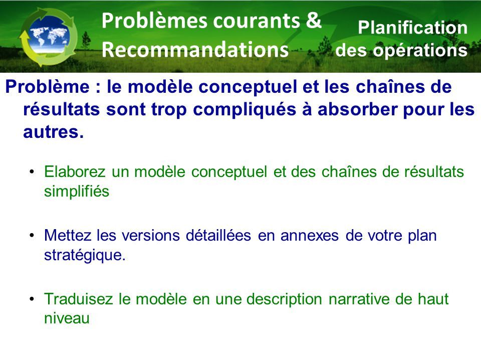 Problème : le modèle conceptuel et les chaînes de résultats sont trop compliqués à absorber pour les autres. Elaborez un modèle conceptuel et des chaî
