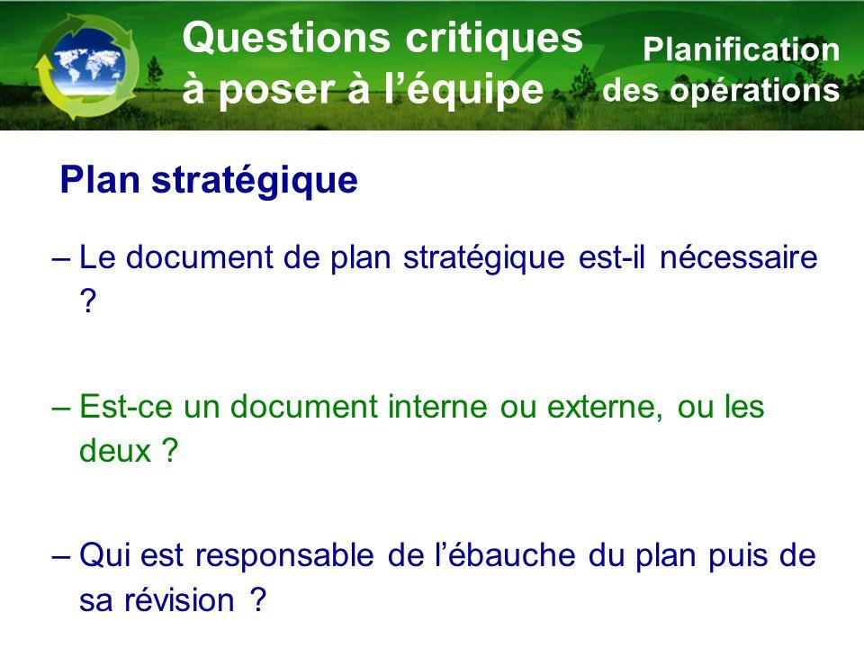 –Le document de plan stratégique est-il nécessaire ? –Est-ce un document interne ou externe, ou les deux ? –Qui est responsable de l'ébauche du plan p