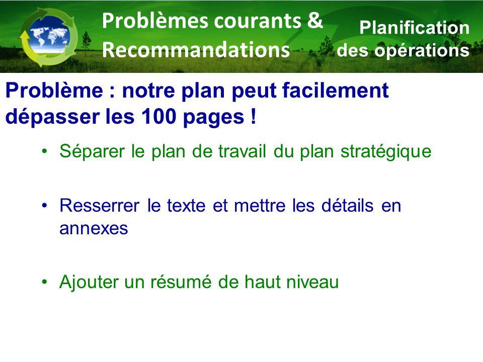 Problème : notre plan peut facilement dépasser les 100 pages ! Séparer le plan de travail du plan stratégique Resserrer le texte et mettre les détails