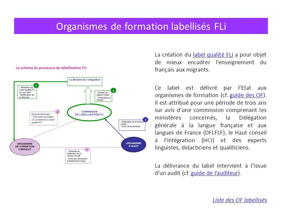 La création du label qualité FLi a pour objet de mieux encadrer l'enseignement du français aux migrants.label qualité FLi Ce label est délivré par l'Etat aux organismes de formation (cf.