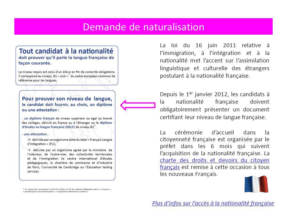 La loi du 16 juin 2011 relative à l'immigration, à l'intégration et à la nationalité met l'accent sur l'assimilation linguistique et culturelle des étrangers postulant à la nationalité française.