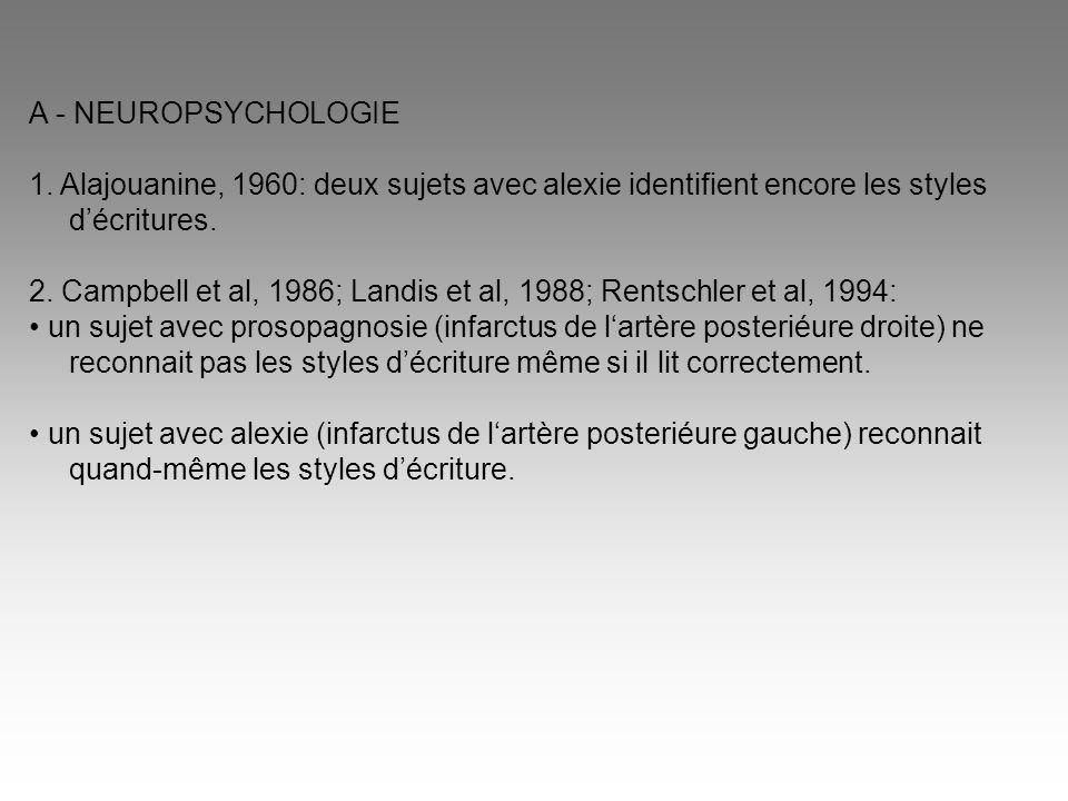 A - NEUROPSYCHOLOGIE 1. Alajouanine, 1960: deux sujets avec alexie identifient encore les styles d'écritures. 2. Campbell et al, 1986; Landis et al, 1