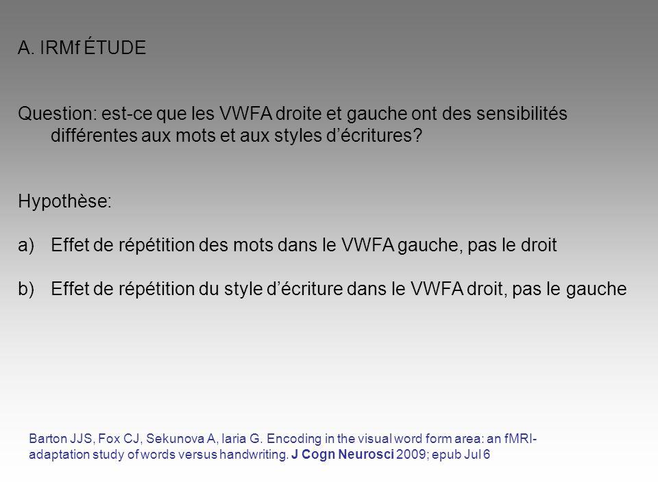 A. IRMf ÉTUDE Question: est-ce que les VWFA droite et gauche ont des sensibilités différentes aux mots et aux styles d'écritures? Hypothèse: a)Effet d