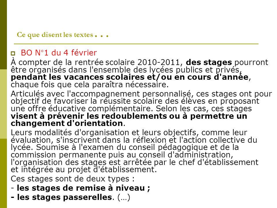 Ce que disent les textes …  BO N°1 du 4 février À compter de la rentrée scolaire 2010-2011, des stages pourront être organisés dans l ensemble des lycées publics et privés, pendant les vacances scolaires et/ou en cours d année, chaque fois que cela paraîtra nécessaire.