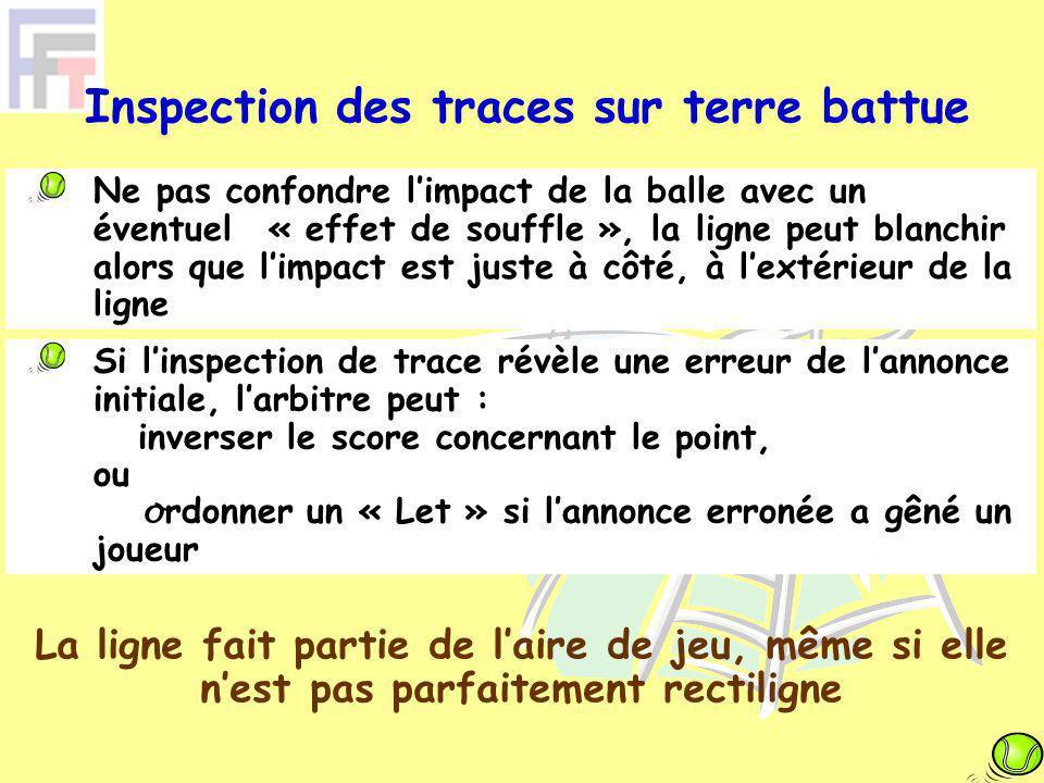 Ne pas confondre l'impact de la balle avec un éventuel « effet de souffle », la ligne peut blanchir alors que l'impact est juste à côté, à l'extérieur