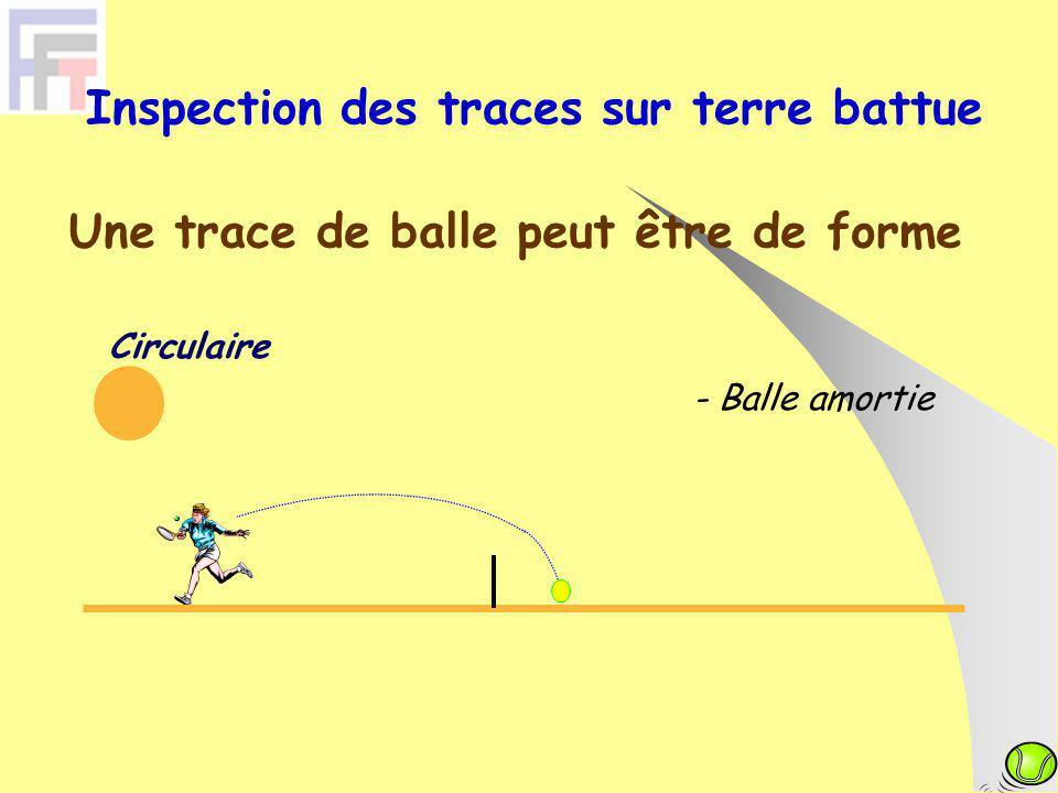 Une trace de balle peut être de forme Circulaire - Balle amortie Inspection des traces sur terre battue