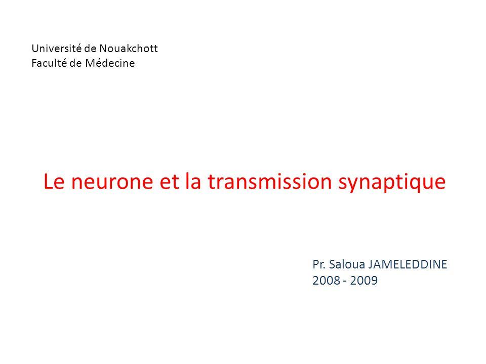 Université de Nouakchott Faculté de Médecine Pr. Saloua JAMELEDDINE 2008 - 2009 Le neurone et la transmission synaptique