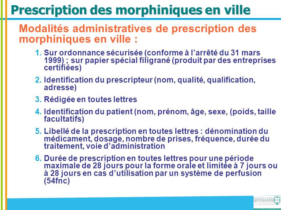 Prescription des morphiniques en ville Modalités administratives de prescription des morphiniques en ville : 1.Sur ordonnance sécurisée (conforme à l'