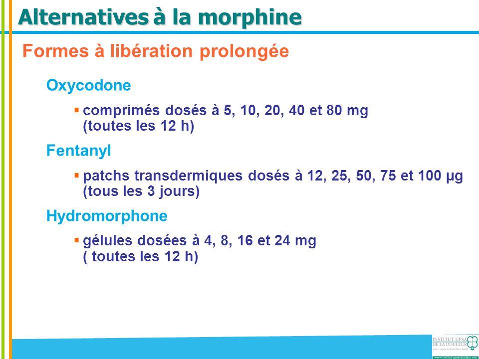 Alternatives à la morphine Formes à libération prolongée Oxycodone  comprimés dosés à 5, 10, 20, 40 et 80 mg (toutes les 12 h) Fentanyl  patchs tran