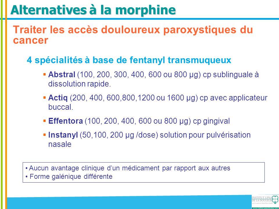 Alternatives à la morphine Traiter les accès douloureux paroxystiques du cancer 4 spécialités à base de fentanyl transmuqueux  Abstral (100, 200, 300