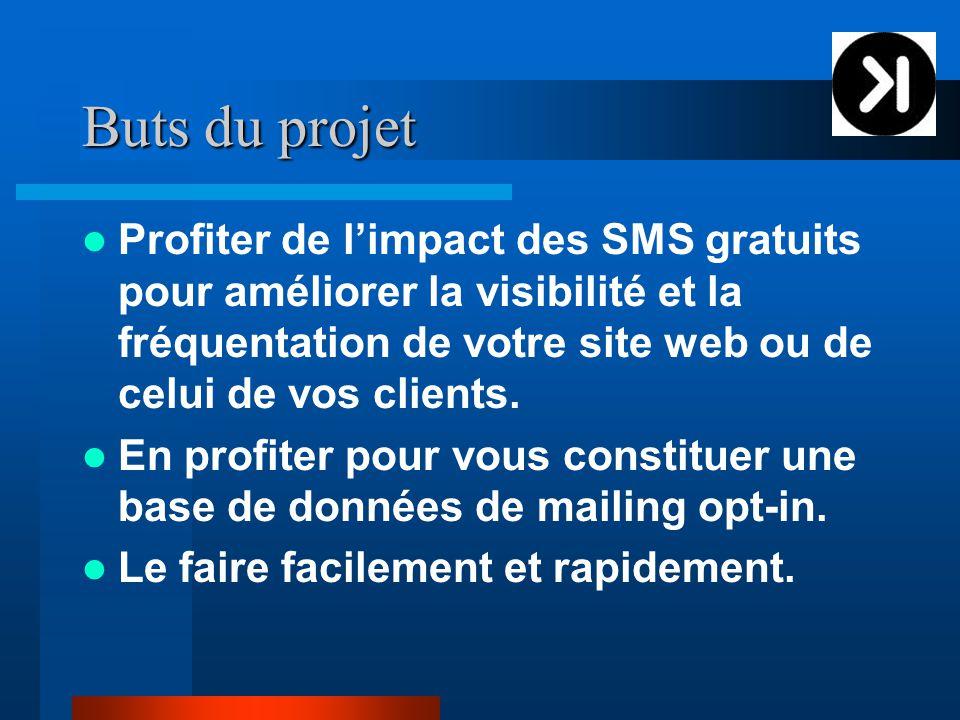 Buts du projet Profiter de l'impact des SMS gratuits pour améliorer la visibilité et la fréquentation de votre site web ou de celui de vos clients.