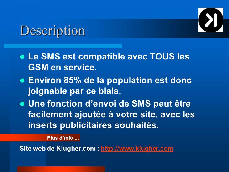 Description Le SMS est compatible avec TOUS les GSM en service.
