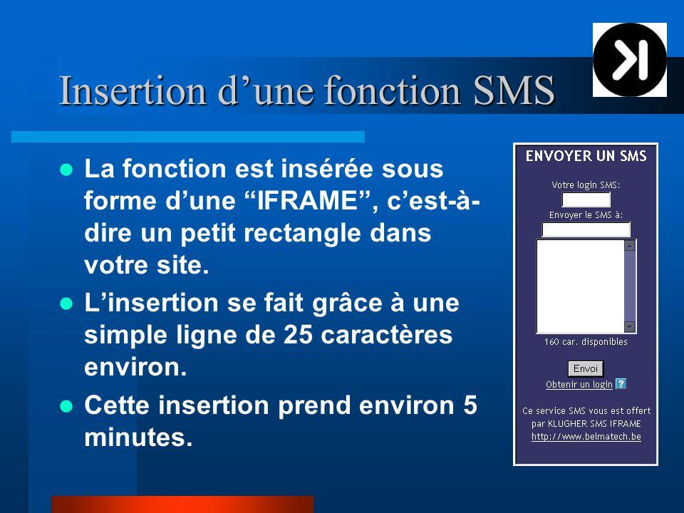 Insertion d'une fonction SMS La fonction est insérée sous forme d'une IFRAME , c'est-à- dire un petit rectangle dans votre site.