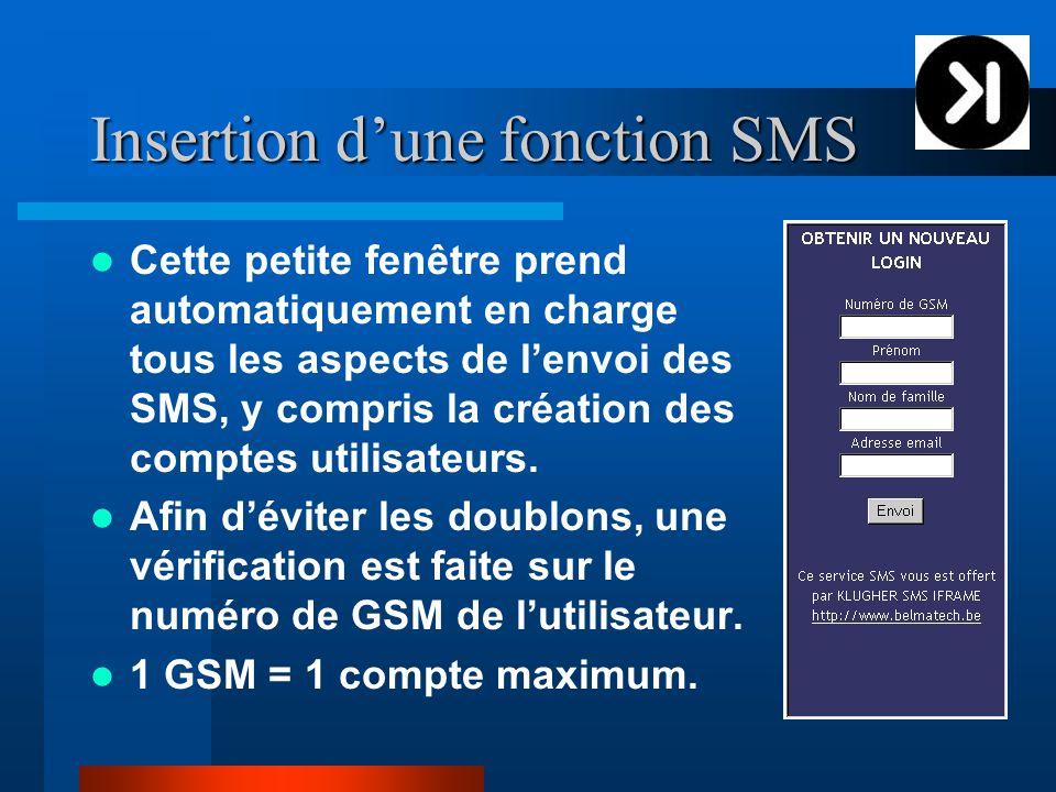 Insertion d'une fonction SMS Cette petite fenêtre prend automatiquement en charge tous les aspects de l'envoi des SMS, y compris la création des comptes utilisateurs.