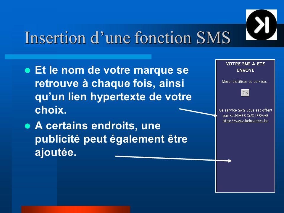Insertion d'une fonction SMS Et le nom de votre marque se retrouve à chaque fois, ainsi qu'un lien hypertexte de votre choix.