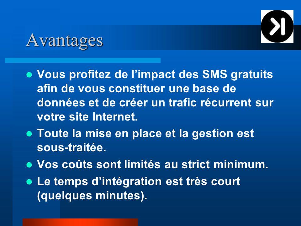 Avantages Vous profitez de l'impact des SMS gratuits afin de vous constituer une base de données et de créer un trafic récurrent sur votre site Internet.