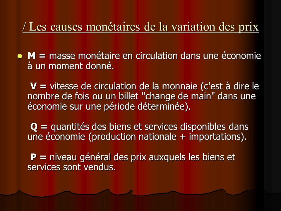 / Les causes monétaires de la variation des prix M = masse monétaire en circulation dans une économie à un moment donné. V = vitesse de circulation de