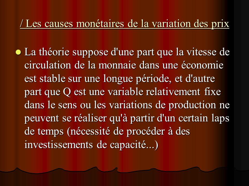 / Les causes monétaires de la variation des prix La théorie suppose d'une part que la vitesse de circulation de la monnaie dans une économie est stabl