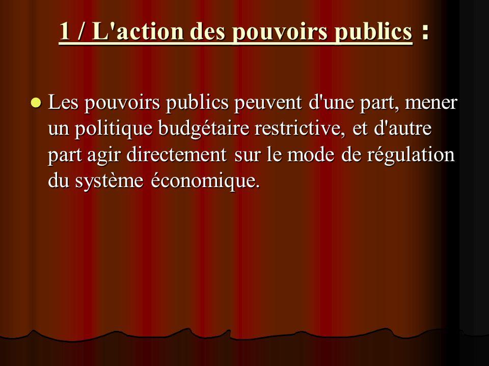 1 / L'action des pouvoirs publics : Les pouvoirs publics peuvent d'une part, mener un politique budgétaire restrictive, et d'autre part agir directeme