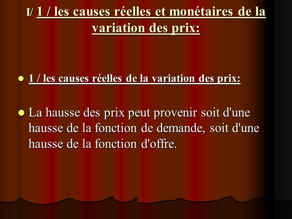 I/ 1 / les causes réelles et monétaires de la variation des prix: 1 / les causes réelles de la variation des prix: 1 / les causes réelles de la variat