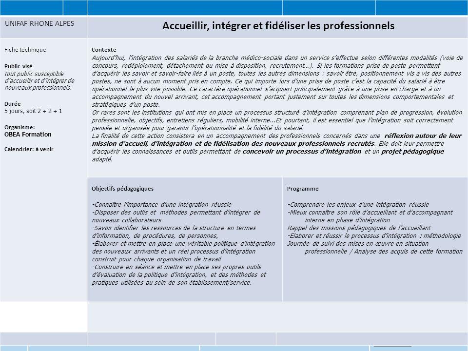 www.unifaf.fr UNIFAF RHONE ALPES Accueillir, intégrer et fidéliser les professionnels Fiche technique Public visé tout public susceptible d'accueillir et d'intégrer de nouveaux professionnels.