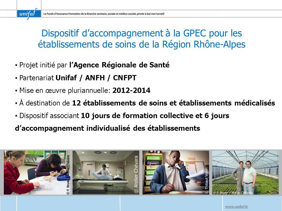www.unifaf.fr L'objectif du dispositif Aider les établissements à appréhender ce qu'est la démarche GPEC, ses intérêts, ses enjeux, ses représentations, ses grands principes et à s'inscrire dans une démarche anticipative, basée sur le dialogue social et l'implication des partenaires sociaux.
