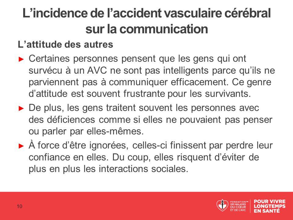 L'incidence de l'accident vasculaire cérébral sur la communication L'attitude des autres ► Certaines personnes pensent que les gens qui ont survécu à